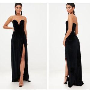 BLACK VELVET DRAPED WRAP DRESS
